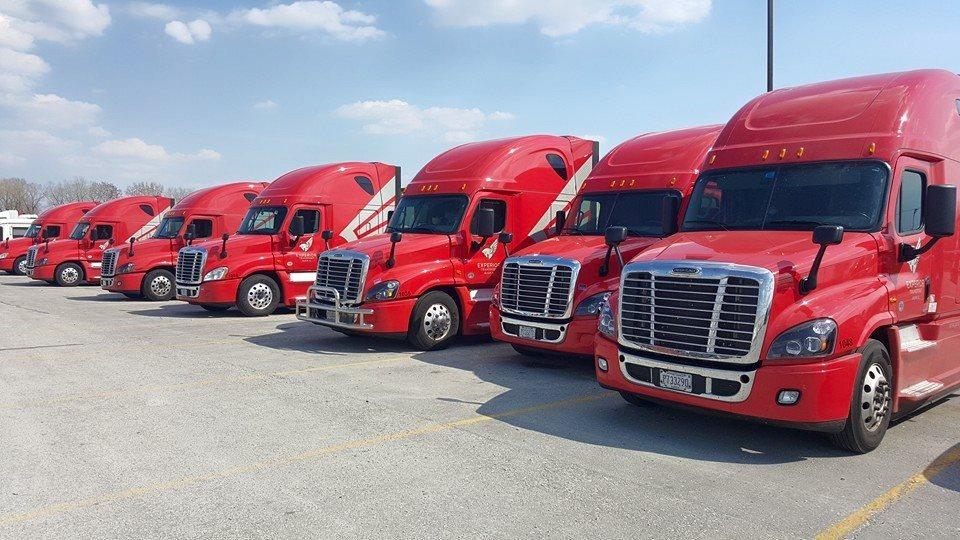 Trucks in line