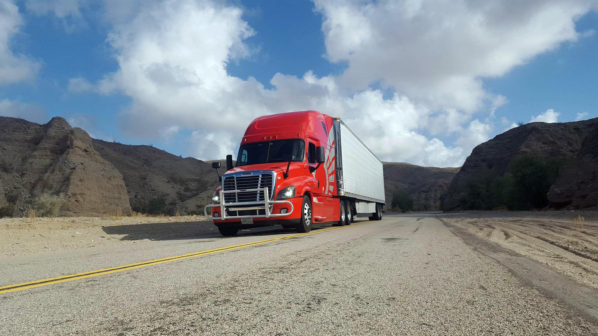 Truck on open road